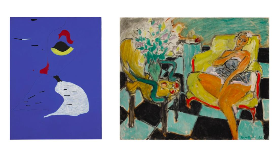 Danseuse dans un intérieur, carrelage vert et noir del 1942 di Matisse, e Peinture (Femme au Chapeau Rouge) di Miró