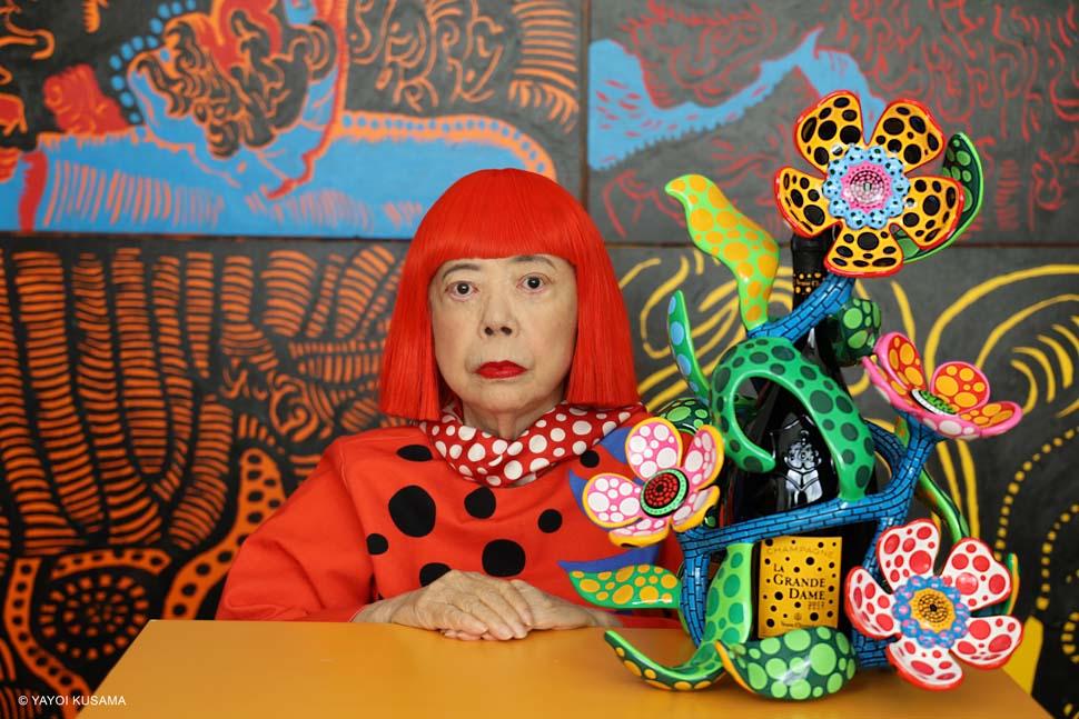 La forte creatività di Yayoi Kusama celebra Madame Clicquot e così  l'arte incontra lo champagne